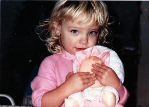 Elyse Doerflinger, Christmas 1991, with doll