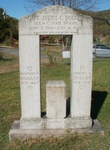 Headstone for Julius Dugger, Samuel Dugger, and Hannah Potter.  Photo from FindAGrave and taken by Aleta Stafford - used here with permission.