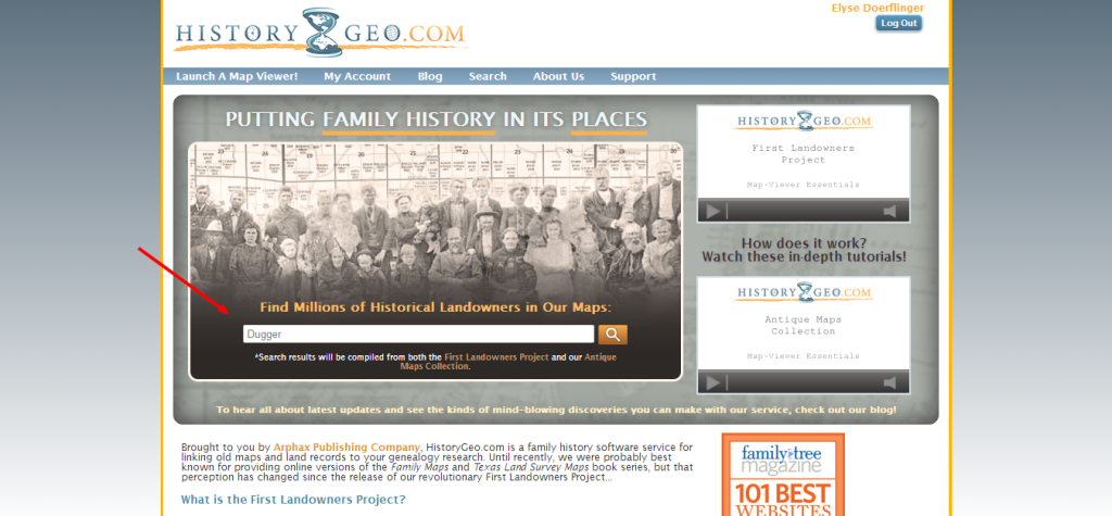 HistoryGeo Homepage with Search Page