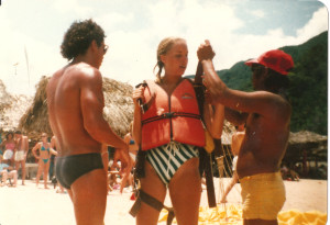 Sharon is getting reading to parasail in Puerto Vallarta, Mexico.